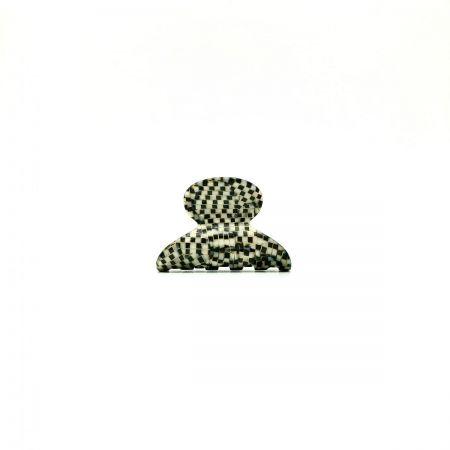 Haarklammer silbergrau/schwarz - mini - 4 cm