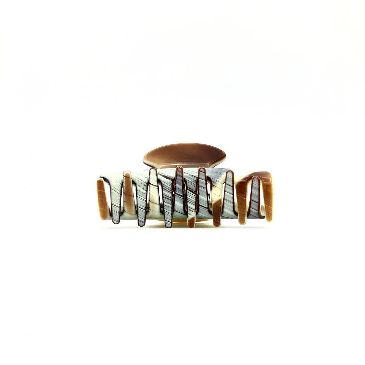 Haarklammer creme/rotbraun - klein - 6,5 cm