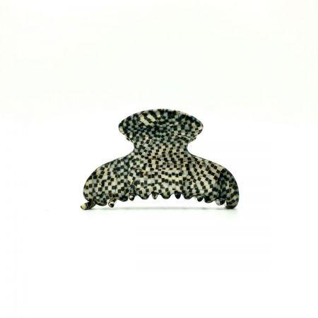Haarklammer silbergrau/schwarz - klein - 6,5 cm