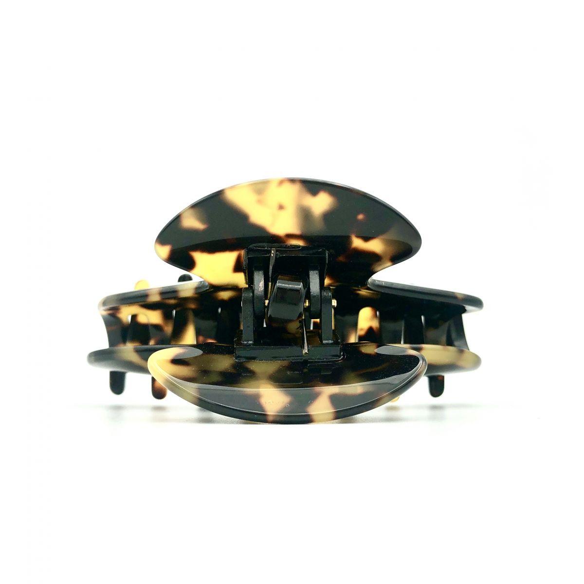 Haarklammer schwarz/honig - mittel - 9 cm