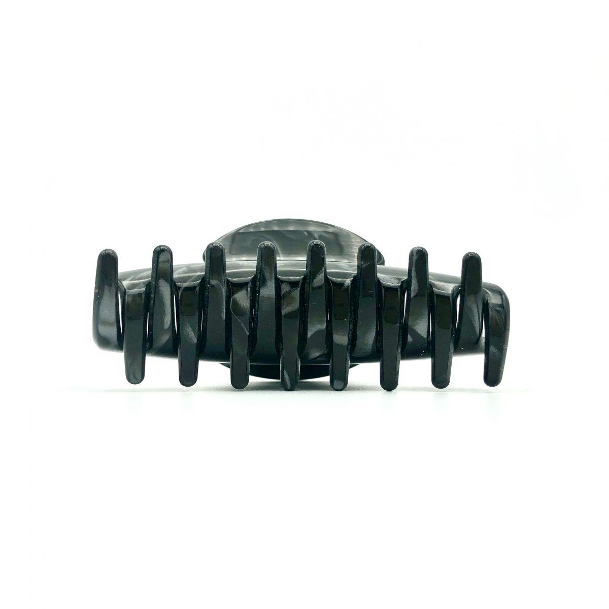 Haarklammer schwarz/silbergrau - mittel - 9 cm