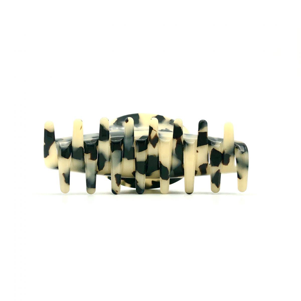 Haarklammer schwarz/beige - mittel - 9 cm