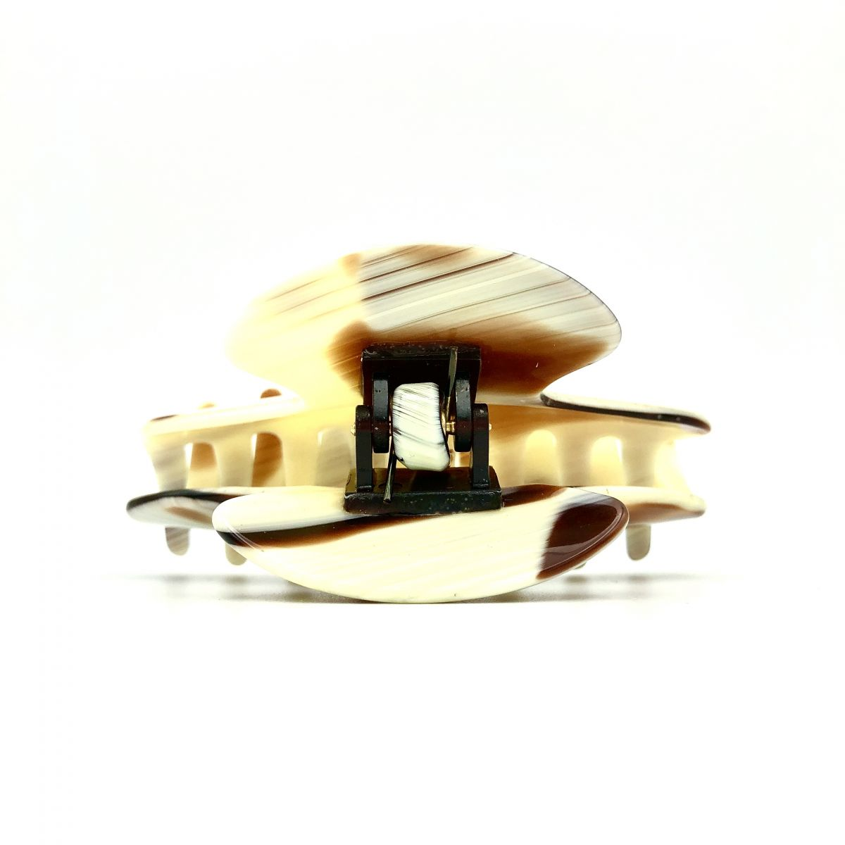 Haarklammer creme/rotbraun - mittel - 9 cm