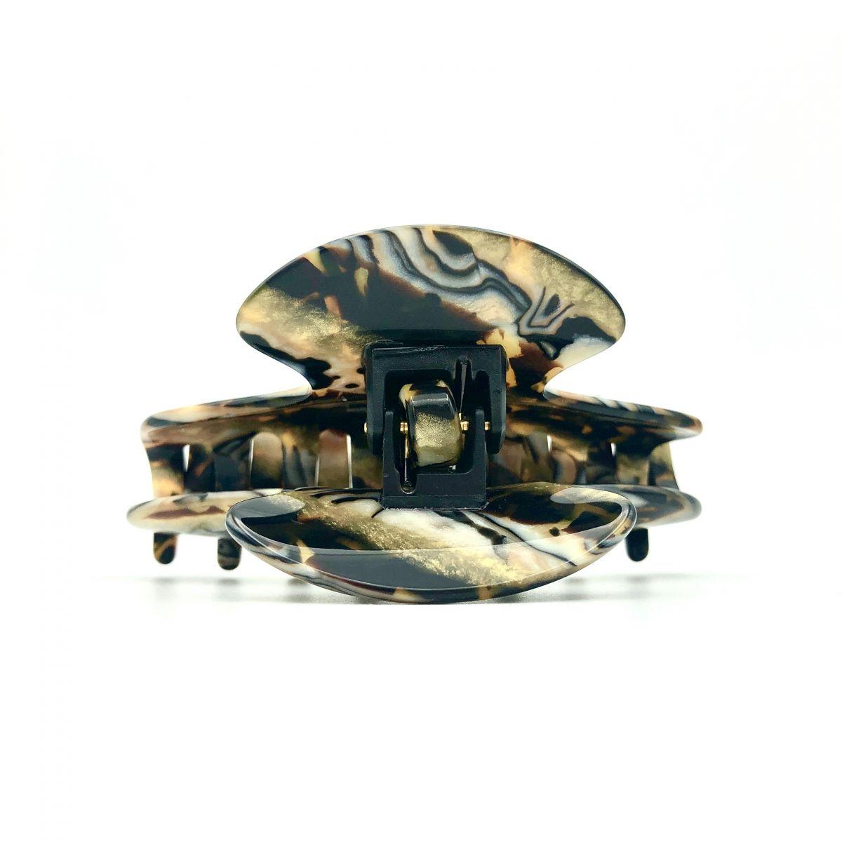 Haarklammer gold/schwarz - mittel - 9 cm