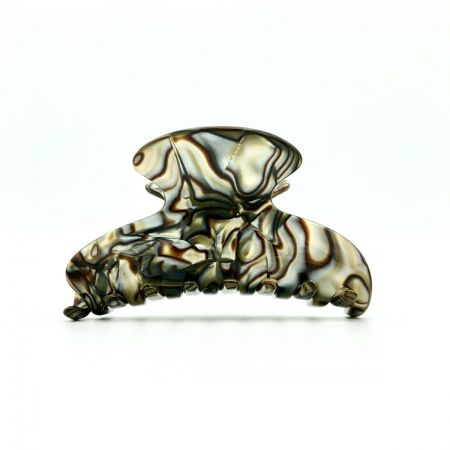 Haarklammer perlmutt/braun - mittel - 9 cm