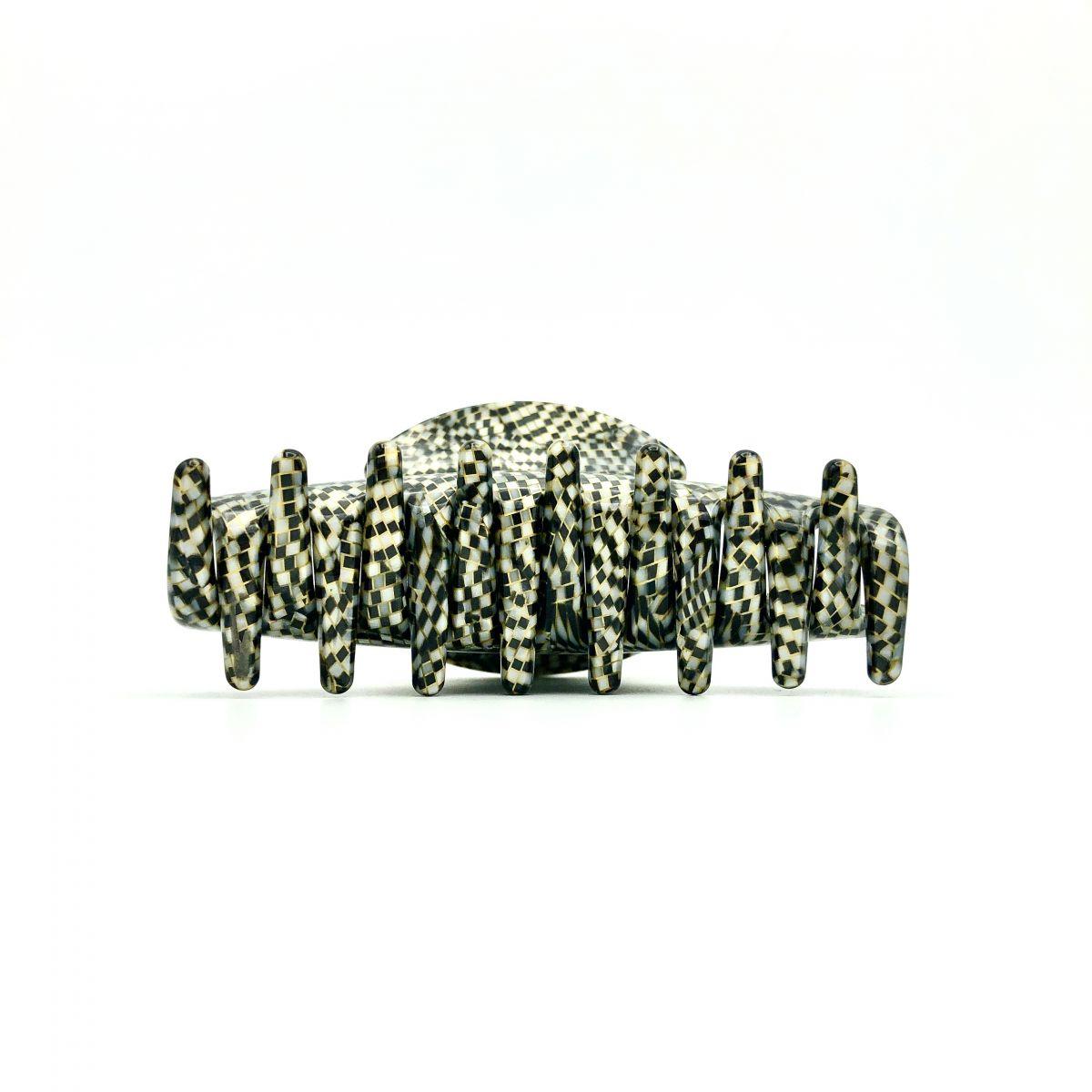 Haarklammer silbergrau/schwarz - mittel - 9 cm