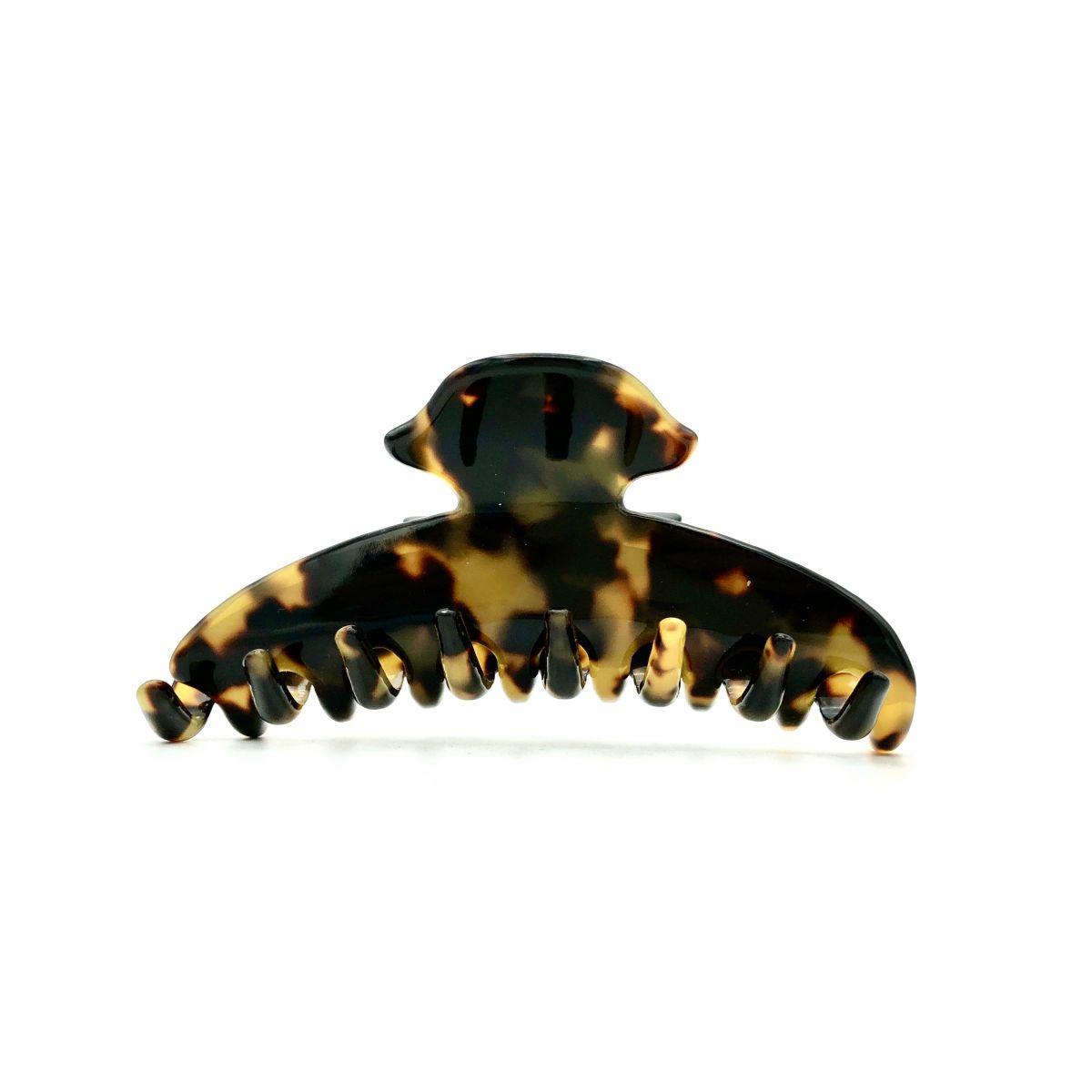 Haarklammer schwarz/honig - mittel, eng - 9 cm