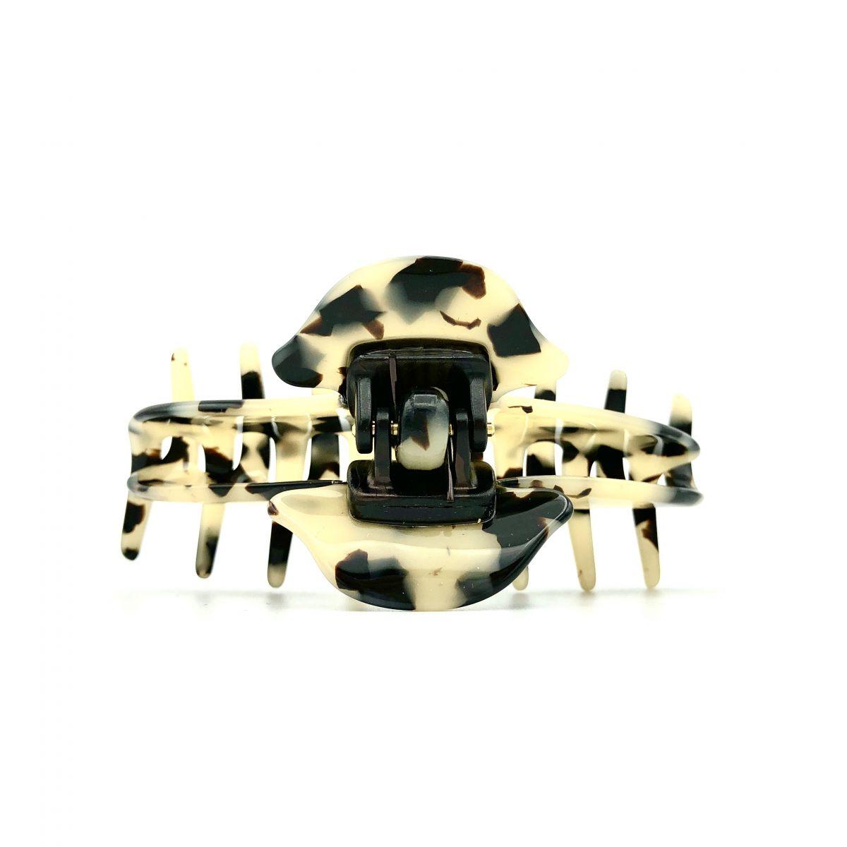 Haarklammer schwarz/beige - mittel, eng - 9 cm