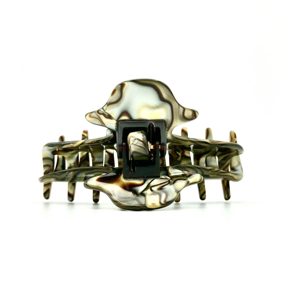 Haarklammer perlmutt/braun - mittel, eng - 9 cm