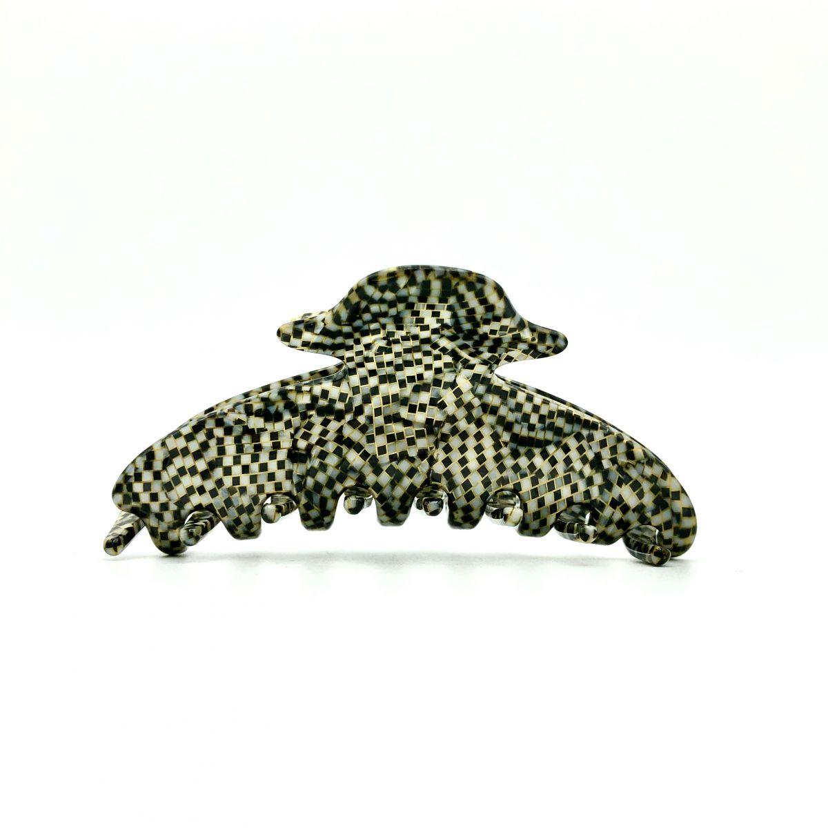 Haarklammer silbergrau/schwarz - mittel, eng - 9 cm