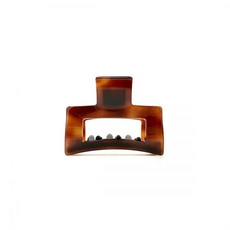 Haarklammer rotbraun - klein, eckig - 6 cm