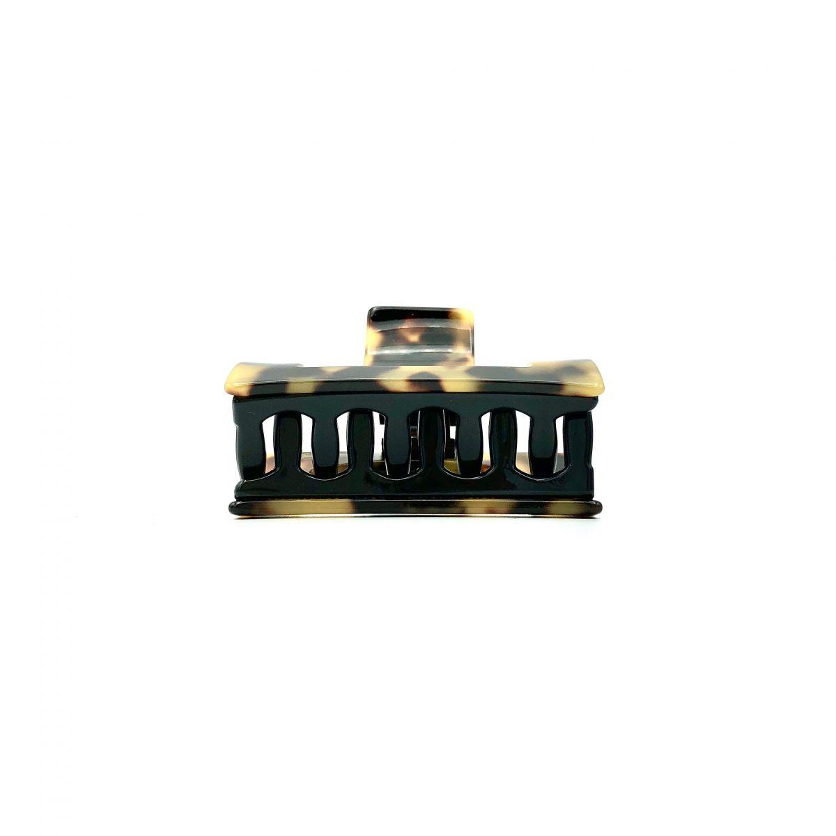 Haarklammer schwarz/honig - klein, eckig - 6 cm