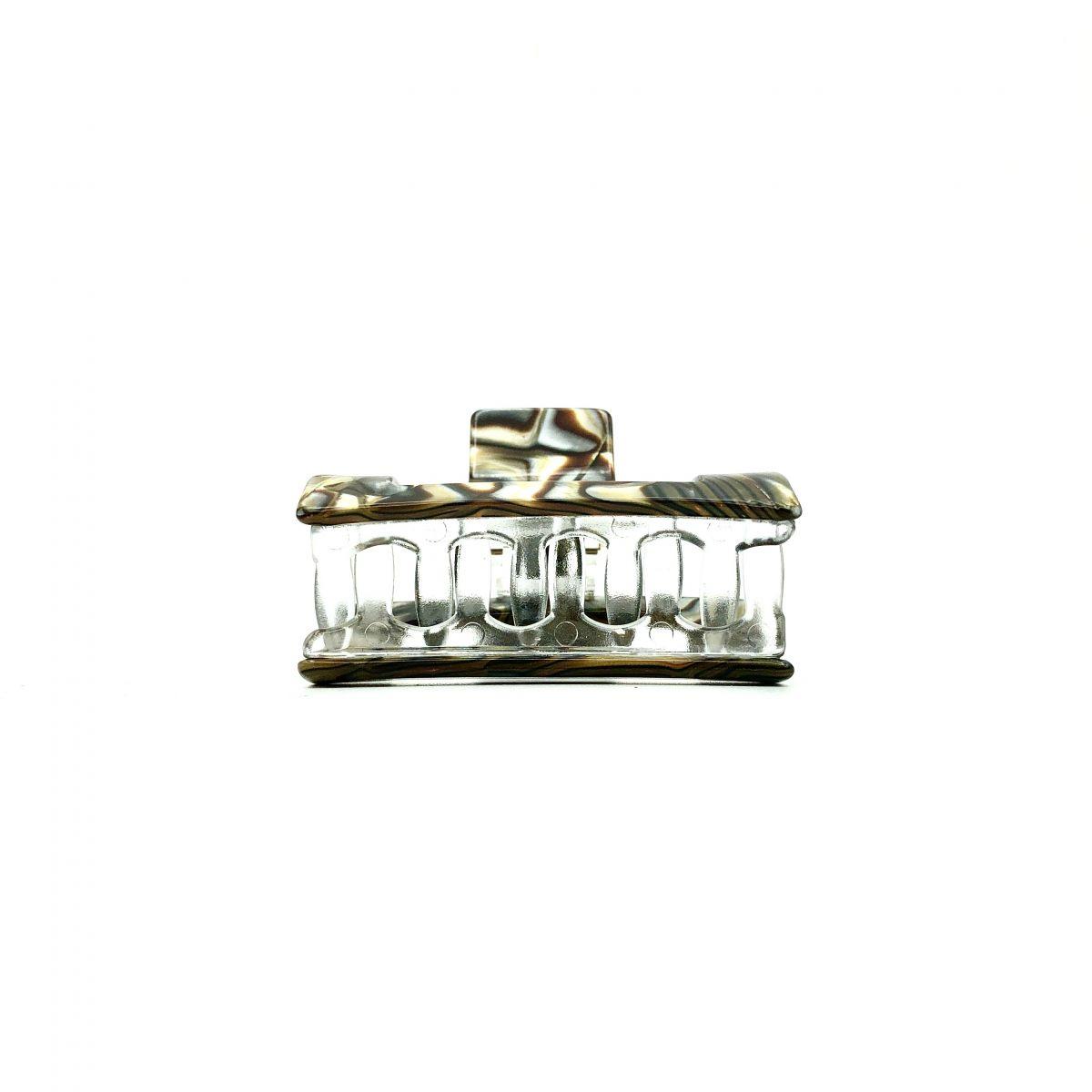 Haarklammer perlmutt/braun - klein, eckig - 6 cm