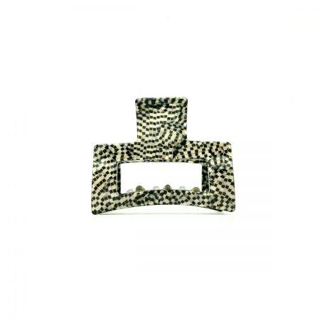 Haarklammer silbergrau/schwarz - klein, eckig - 6 cm
