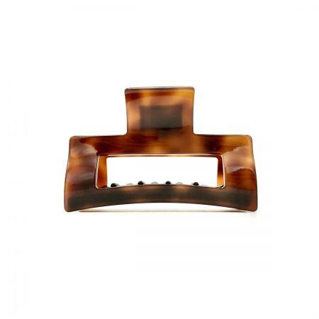 Haarklammer rotbraun - mittel, eckig - 8 cm