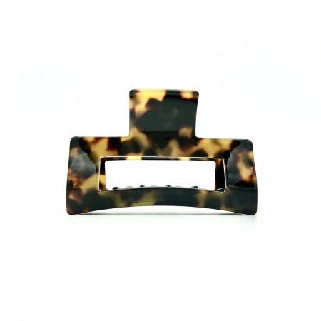 Haarklammer schwarz/honig - mittel, eckig - 8 cm
