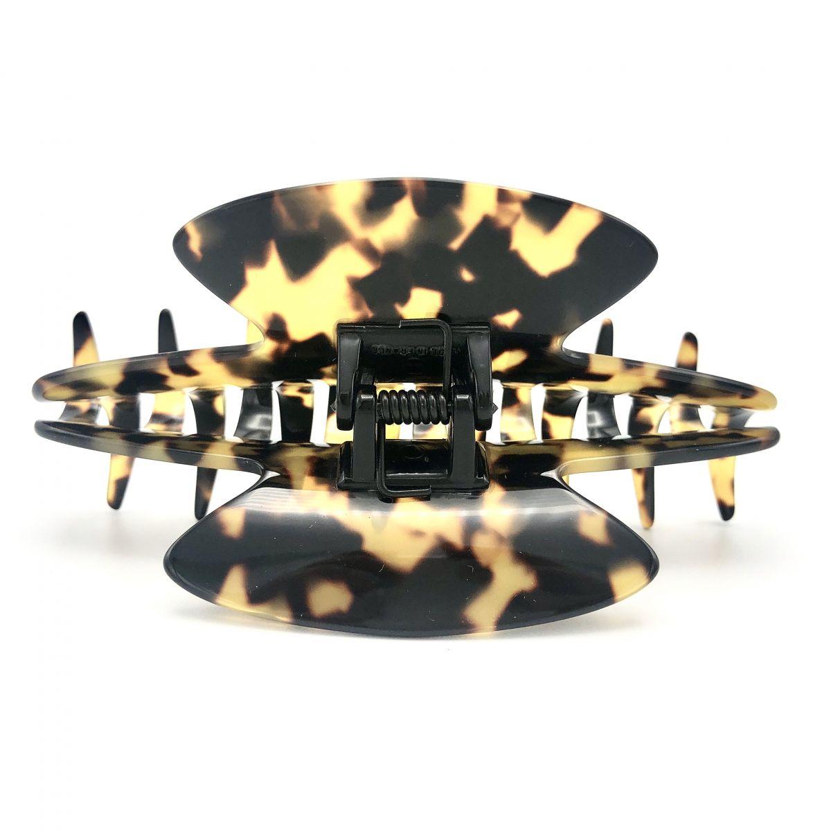 Haarklammer schwarz/honig - groß - 11 cm