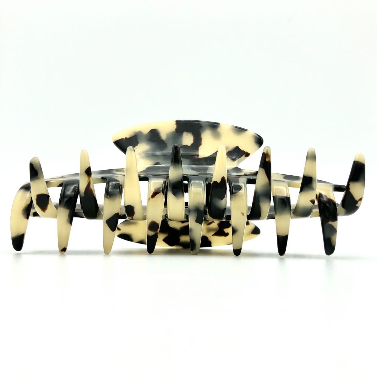 Haarklammer schwarz/beige - groß - 11 cm
