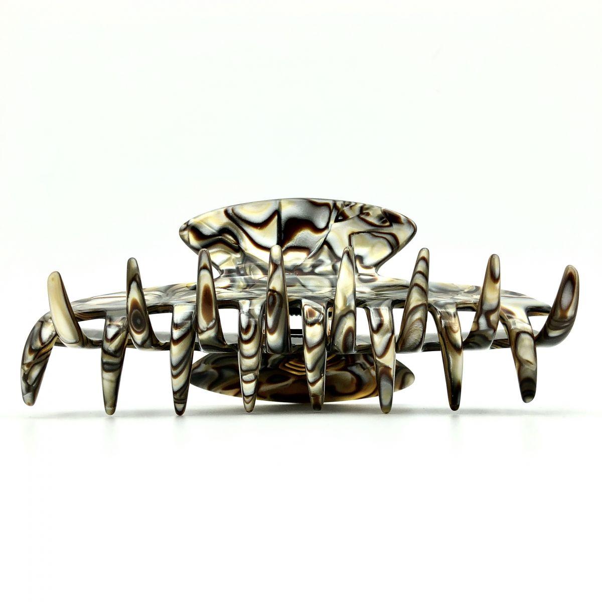 Haarklammer perlmutt/braun - groß - 11 cm