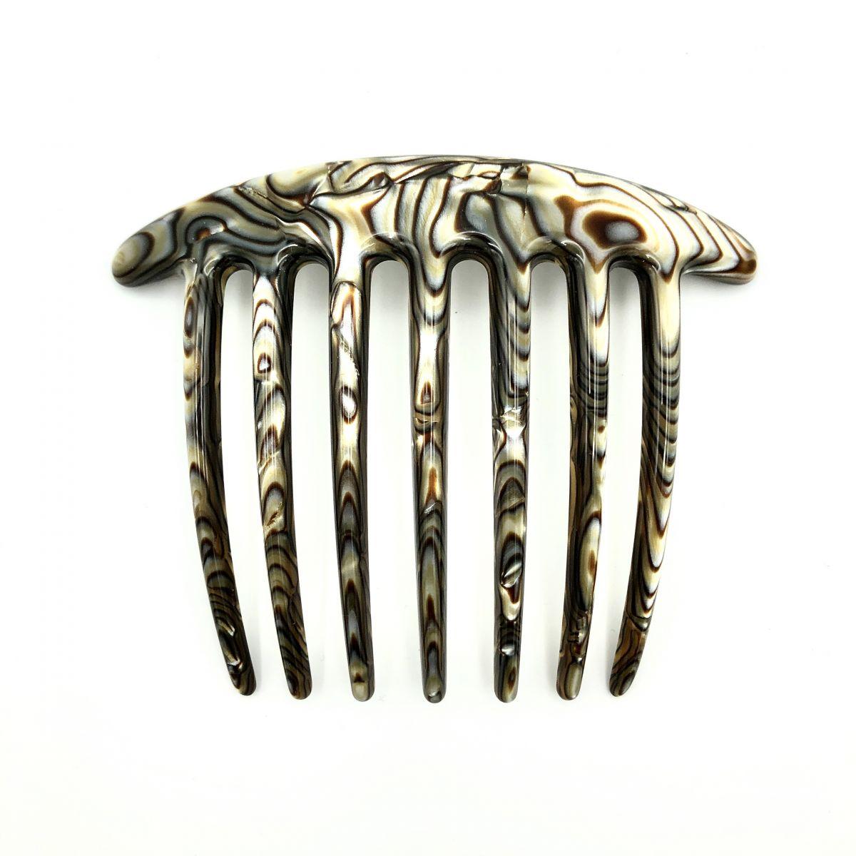 Steckkamm perlmutt/braun - extra lange Zähne - 10,5 cm